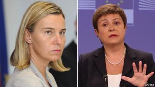 EU foreign policy candidates - Federica Mogherini (left) and Kristalina Georgieva
