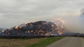 A large hay fire