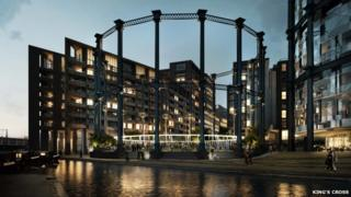 An artist's impression of the gasholder park at night