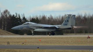 US Air Force handout picture of an F-15C Eagle taking off in Lithuania (March 2014)