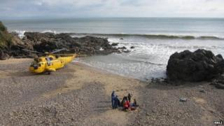 Rotherslade Bay beach rescue