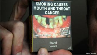 An example of what cigarette packets in Australia now look like