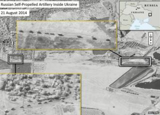 Handout of a satellite image provided to Reuters by Supreme Headquarters Allied Powers Europe (SHAPE), showing what is reported by SHAPE a presence of Russian Self-Propelled Artillery in Ukraine