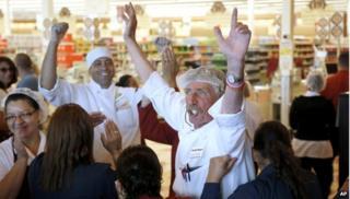 Market Basket workers celebrating