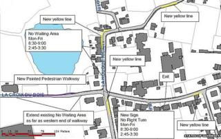 Map showing changes to traffic around the Vale Primary School, in Guernsey