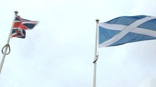 Union Jack and Scotland flag