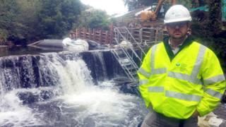 The fishpass under construction