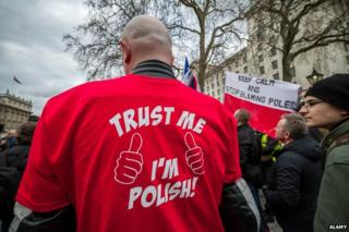 "Man in shirt saying ""Trust me I'm Polish"""
