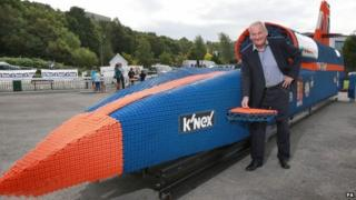 Bloodhound Project Director and former land speed record holder, Richard Noble with the model