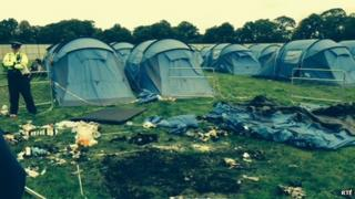 fire in tent at electric picnic