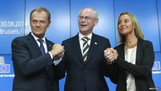 Polish PM Donald Tusk, Herman Van Rompuy, Italy's Federica Mogherini, 30 Aug 14