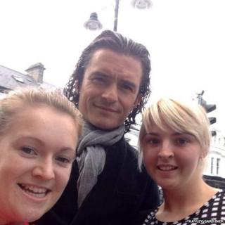 Orlando Bloom poses for selfies locals in Donaghadee