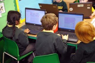 Primary school children on computers