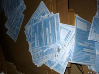 Patient declaration forms among recycling waste