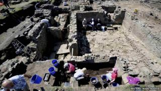 Archaeologists at work in Binchester Roman Fort
