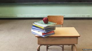 A school desk with text books