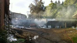 Barn fire in Clayhidon