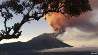 Tungurahua volcano erupts near Banos on 31 August, 2014.