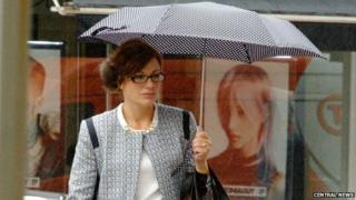Donna Moore arrives at the hearing in London