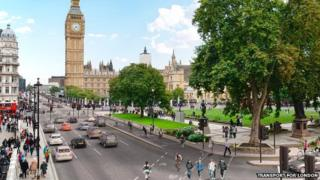An artist's impression of part of the planned segregated cycle scheme