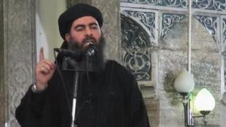 Abu Bakr al-Baghdadi delivering a sermon at a mosque in Iraq - 5 July 2014