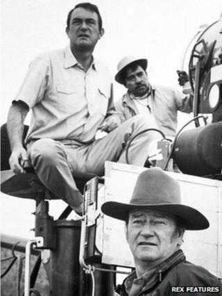 Director Andrew McLaglen (left) on the set of 1969 film Undefeated, starring John Wayne