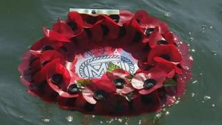 Wreath remembering the Merchant Navy fleet during World War Two