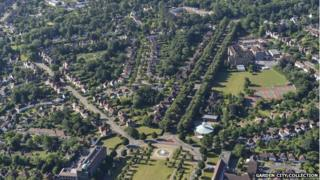 Letchworth garden City as seen from overhead