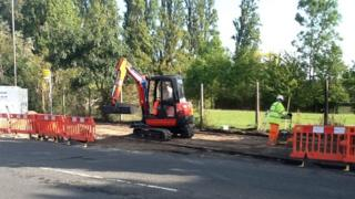 Cycle path under construction