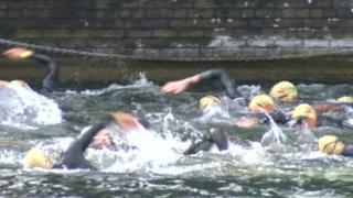 Swimmers in triathlon