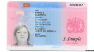 Sample residence permit