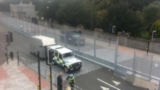Police outside Cardiff Castle