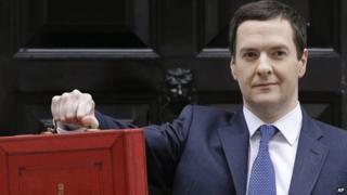 George Osborne with Budget dispatch box