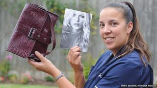 Care manager Lindsay Giess with the Kate Moss bag.