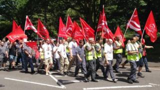 Public sector workers on strike marching through Donnington, Telford, 10 July 2014