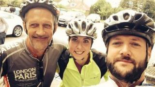 Jonjo Rooney (right) with two of the cyclists accompanying him to Germany