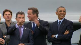 Leaders watching flypast