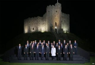 Cardiff Castle was the backdrop for a 'family' photo of the Nato leaders before their dinner
