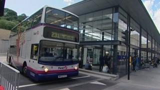 Bus at Bristol bus station