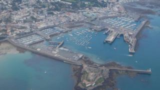 Guernsey's St Peter Port Harbour seen from the air