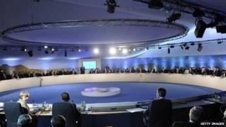 The huge table for the Nato summit at Celtic Manor