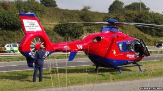 Air ambulance on A38. Pic: Shaunay Palmer
