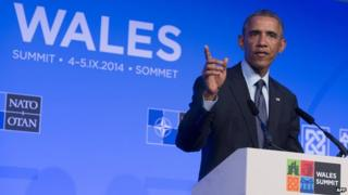 President Obama addresses members of Nato in Wales on 5 September 2014
