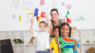 Children with flags - posed by models