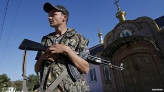 Pro-Russian separatist in eastern Ukrainian town of Ilovaysk. 5 Sept 2014