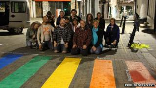 The rainbow-coloured crossing
