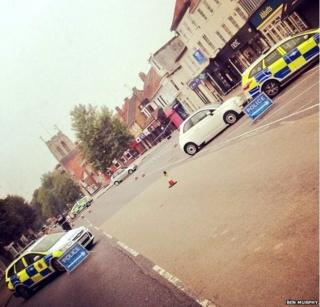 Scene of police investigation on Epping High Street