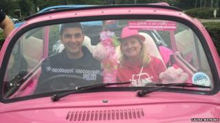 Pink car rally