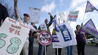 Union member on strike