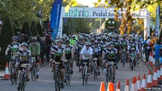 Cyclists on Pedal for Scotland event